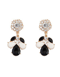 Indie black & white CZ diamond decorated petal design alloy Korean Earrings
