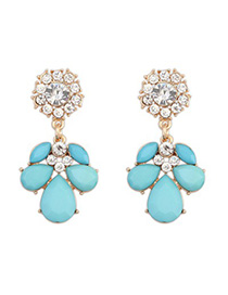 Sample light blue CZ diamond decorated petal design alloy Korean Earrings