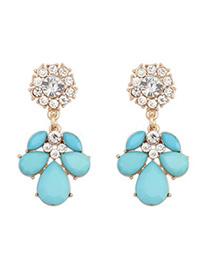 Sample light blue CZ diamond decorated petal design alloy Korean Earrings