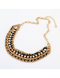 Circle black CZ diamond decorated weave design alloy Korean Necklaces