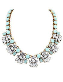 Designs light blue CZ diamond decorated bee shape design alloy Fashion Necklaces