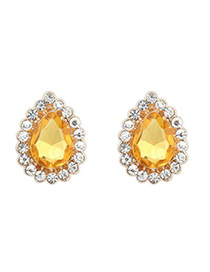 Limited yellow CZ diamond decorated waterdrop design alloy Korean Earrings