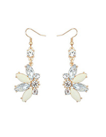 2013 beige CZ diamond decorated Butterfly shape design alloy Korean Earrings