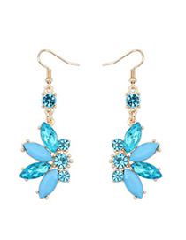 Gothic blue CZ diamond decorated Butterfly shape design alloy Korean Earrings