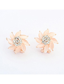 Plus Size apricot diamond decorated flower design alloy Stud Earrings