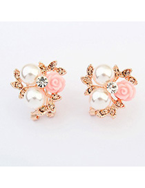 Hanging pink pearl decorated flower design alloy Stud Earrings