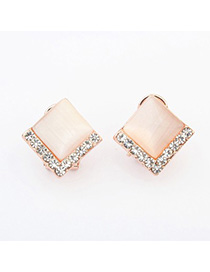 Timeless beige diamond decorated square shape design alloy Stud Earrings