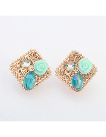 Teen blue flower decorated square shape design alloy Stud Earrings