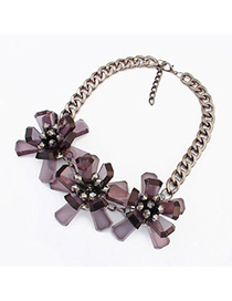 Folding black flower decorated simple design resin Fashion Necklaces