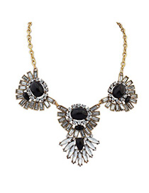 Synthetic black gemstone decorated sector shape design alloy Bib Necklaces