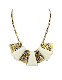 Fabulous beige flower decorated geometrical shape design alloy Bib Necklaces