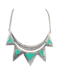 Christenin green triangle shape decorated simple design alloy Korean Necklaces