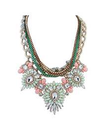 Masculine Light Green & Pink Diamond Decorated Multilayer Design Alloy Fashion Necklaces