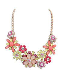 Physical Multicolor Gemstone Decorated Flower Design Alloy Fashion Necklaces