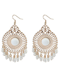 Single White Round Shape Tassel Simple Design Alloy Korean Earrings