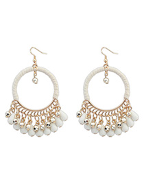 Floating Beige Tassel Decorated Hollow Circle Shape Design Alloy Korean Earrings