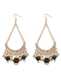 Wishbone Black Tassel Decorated Curve Shape Design Alloy Korean Earrings