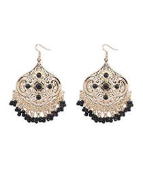 Native Black Tassel Decorated Geometrical Shape Design Alloy Korean Earrings