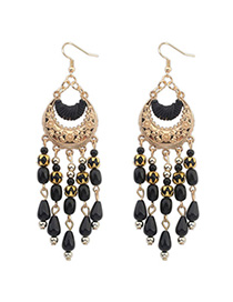 Homecoming Black Tassel Decorated Crescent Shape Design Alloy Korean Earrings