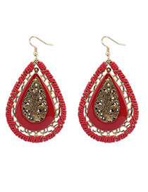 Tall Red Waterdrop Shape Decorated Hollow Out Design Alloy Korean Earrings