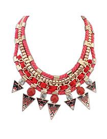 Squash Red Gemstone Decorated Triangle Pendant Design Alloy Bib Necklaces