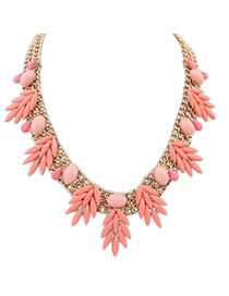 Minted Pink Gemstone Decorated Leaf Shape Design Alloy Bib Necklaces