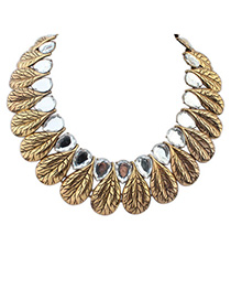 Pretty White & Ancient Gold Waterdrop Leaf Shape Decorated Simple Design Alloy Bib Necklaces