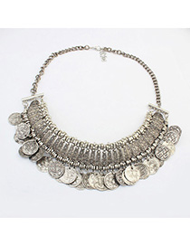 Quality Antique Silver Coins Decorated Tassel Design Alloy Bib Necklaces