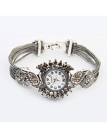 Revealing Silver Color Diamond Decorated Peacock Shape Design Alloy Ladies Watches