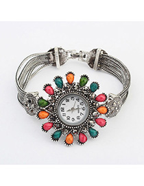 Skinny Multicolor Diamond Decorated Waterdrop Shape Design Alloy Ladies Watches