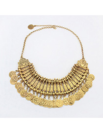 Statement Antique Gold Coins Decorated Tassel Design Alloy Bib Necklaces