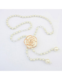 Attractive White Pearl Decorated Rose Design Alloy Korean Necklaces