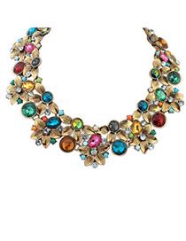 Locket Multicolor Diamond Decorated Flower Design Alloy Bib Necklaces