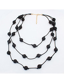 Custom Black Beads Decorated Multilayer Design Alloy Beaded Necklaces