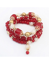 Dickie Red Beads Decorated Multilayer Design Alloy Korean Fashion Bracelet