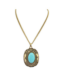 Winter Blue Gemstone Decorated Hollow Out Deaign Alloy Bib Necklaces