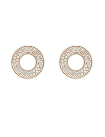 Electronic White Diamond Decorated Round Shape Design Alloy Stud Earrings