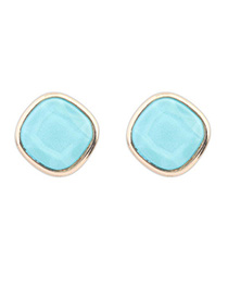 Art Blue Irregular Shape Simple Design Alloy Stud Earrings
