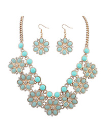 Barbie Light Blue Gemstone Decorated Flower Design Alloy Jewelry Sets