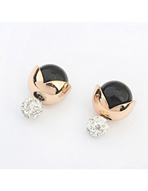 Indie Black Diamond Decorated Multilayer Design Alloy Stud Earrings