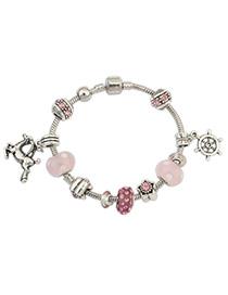 Screw Pink Beads Decorated Deer Shape Design Alloy Korean Fashion Bracelet