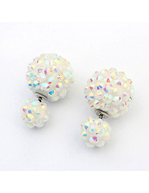 High Waist Color White Candy Color Round Shape Decorated Simple Design Alloy Stud Earrings