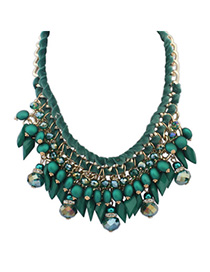 Magnetic Green Gemstone Decorated Tassel Waeve Design Alloy Bib Necklaces