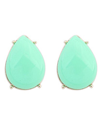 Postal Light Green Gemstone Decorated Waterdrop Shape Design Alloy Stud Earrings