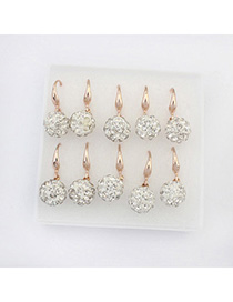 Pierced White Diamond Decorated Ball Shape Design Alloy Korean Earrings