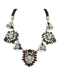 Affinity Coffee & Champagne Gold Gemstone Decorated Flower Design Alloy Bib Necklaces