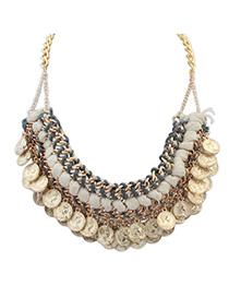 Best Ancient Gold Coins Shape Decorated Weave Design Alloy Fashion Necklaces