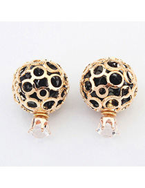 Beige Black Round Shape Decorated Hollow Out Design