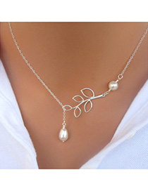 Automatic Silver Color Pearl Leaf Shape Decorated Simple Design Alloy Chains