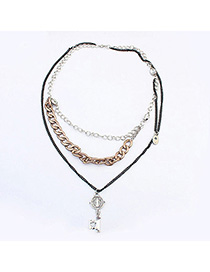 Writing Bronze key shape decorated simple design Alloy Chains